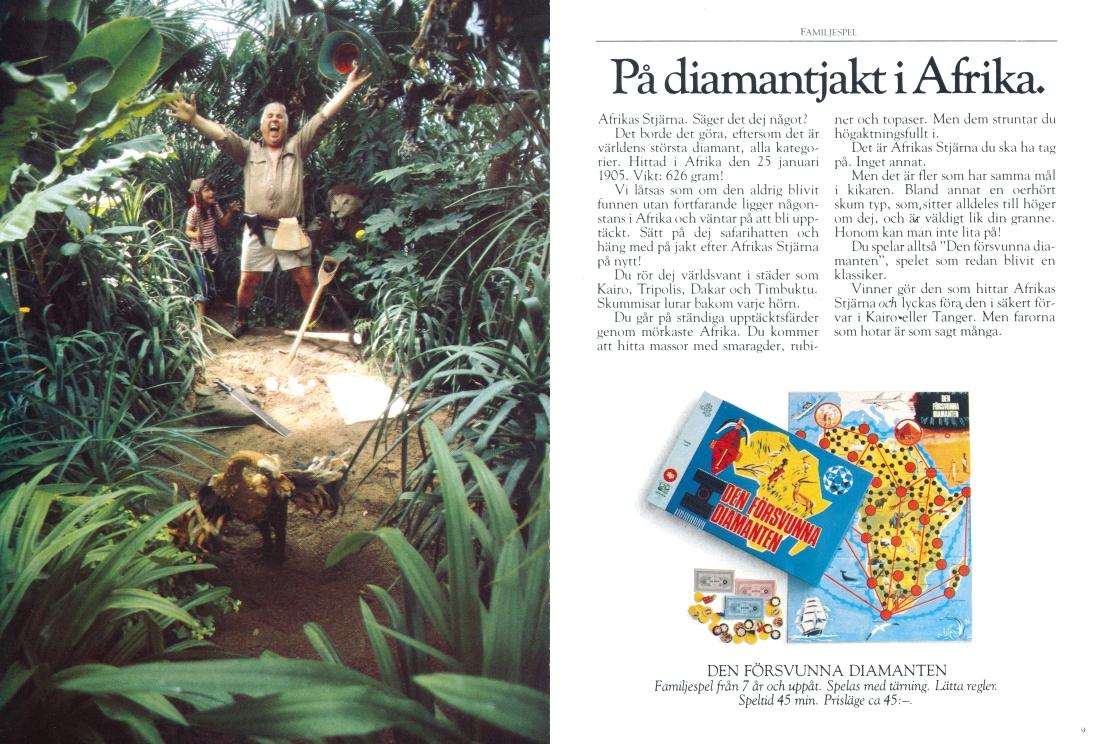 Uppslag ur ALGA-katalog från 1977 med reklam för Den försvunna diamanten.