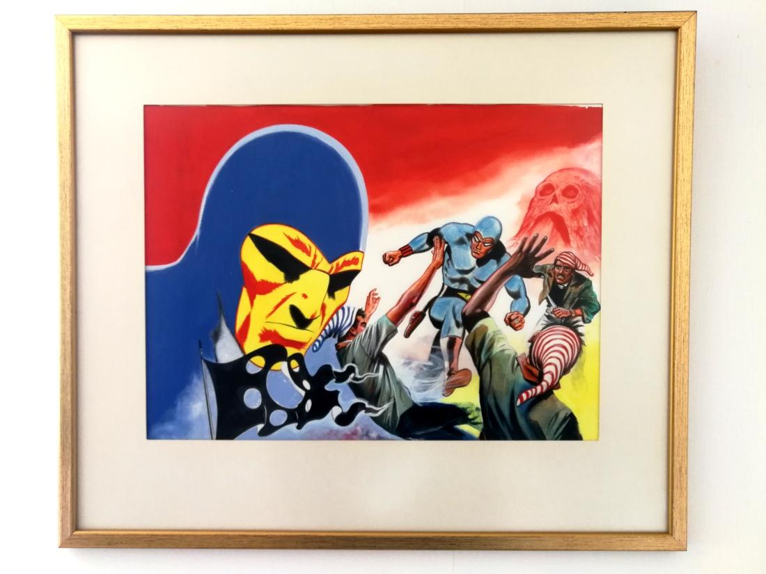 Originalmålning till omslaget av Fantomen-spelet (Rolf Gohs). Hänger på hemlig plats.